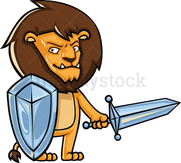Lion holding sword and shield. PNG - JPG and vector EPS (infinitely scalable).