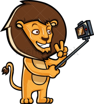 Lion taking photo with selfie stick. PNG - JPG and vector EPS (infinitely scalable).