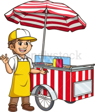 Male hot dog seller. PNG - JPG and vector EPS (infinitely scalable).
