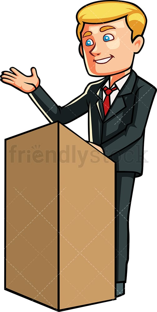 Man on podium giving speech. PNG - JPG and vector EPS file formats (infinitely scalable). Image isolated on transparent background.