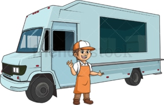 Man with food truck. PNG - JPG and vector EPS (infinitely scalable).