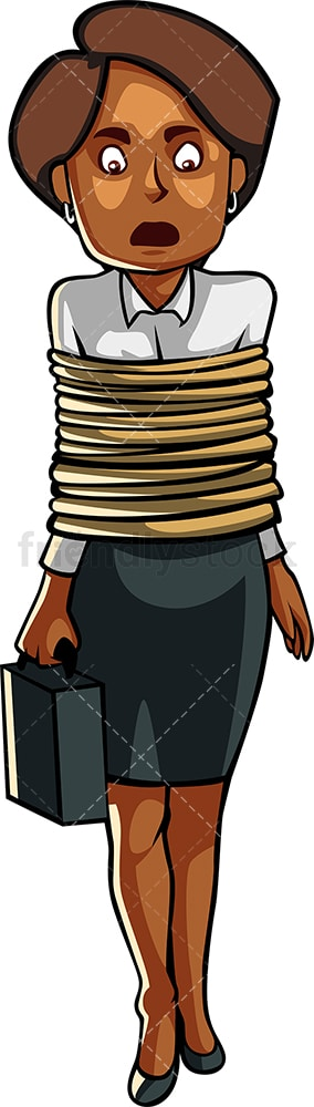 Restrained black business woman. PNG - JPG and vector EPS file formats (infinitely scalable). Image isolated on transparent background.