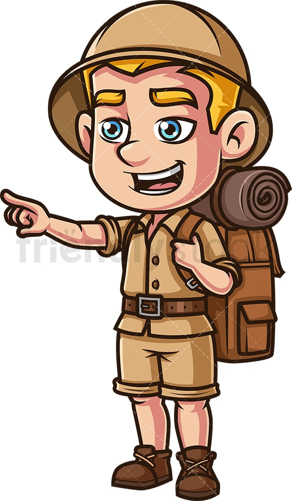 Safari explorer pointing in the distance. PNG - JPG and vector EPS (infinitely scalable).