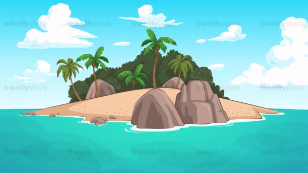 Tropical desert island background in 16:9 aspect ratio. PNG - JPG and vector EPS file formats (infinitely scalable).