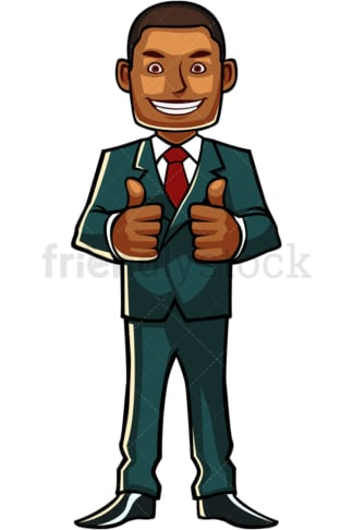 Black businessman thumbs up. PNG - JPG and vector EPS file formats (infinitely scalable). Image isolated on transparent background.