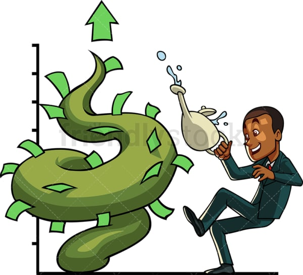 Black businessman with money plant. PNG - JPG and vector EPS file formats (infinitely scalable). Image isolated on transparent background.