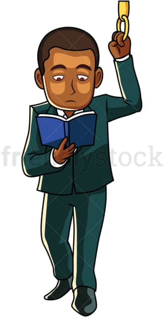 Black man reading a book on bus. PNG - JPG and vector EPS file formats (infinitely scalable). Image isolated on transparent background.