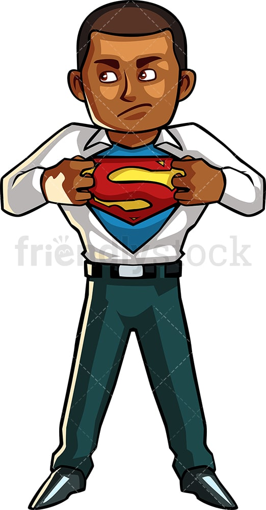 Black man unveiling superpowers. PNG - JPG and vector EPS file formats (infinitely scalable). Image isolated on transparent background.