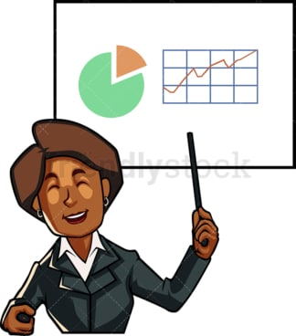 Black woman presenting growth. PNG - JPG and vector EPS file formats (infinitely scalable). Image isolated on transparent background.