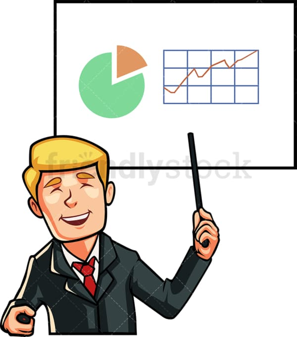 Business man presenting a growth graph. PNG - JPG and vector EPS file formats (infinitely scalable). Image isolated on transparent background.