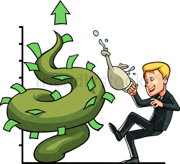 Businessman watering money beanstalk. PNG - JPG and vector EPS file formats (infinitely scalable). Image isolated on transparent background.