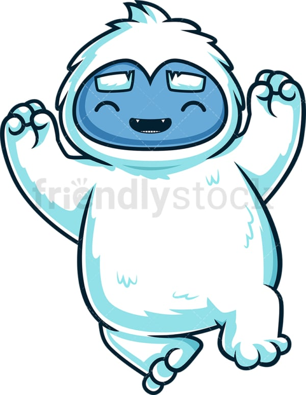 Cheering yeti monster. PNG - JPG and vector EPS (infinitely scalable).