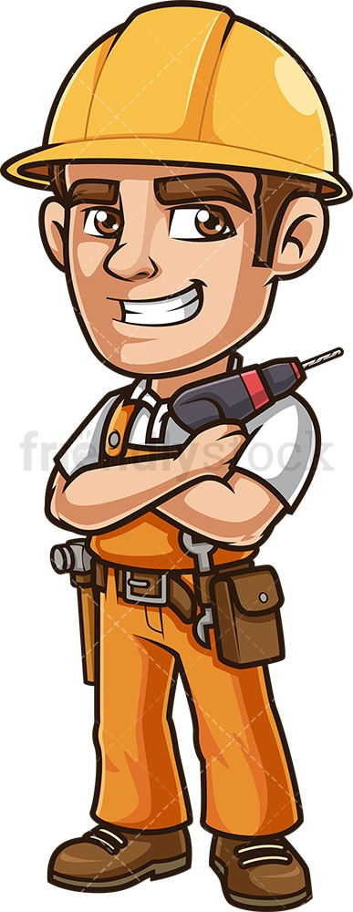Construction worker holding drill. PNG - JPG and vector EPS (infinitely scalable).