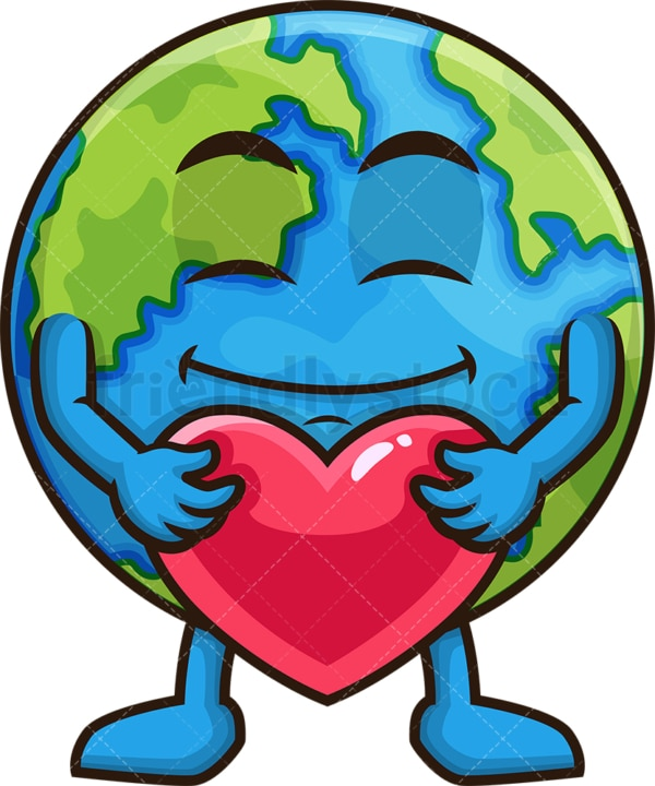 Earth holding a red heart. PNG - JPG and vector EPS (infinitely scalable).
