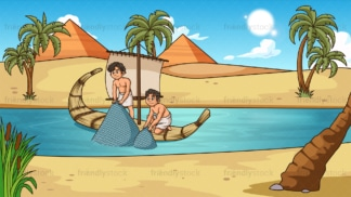 Egyptians fishing in the river nile. PNG - JPG and vector EPS file formats (infinitely scalable). Image isolated on transparent background.