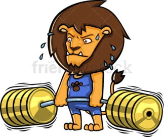 Fierce lion bodybuilder lifting weights. PNG - JPG and vector EPS (infinitely scalable).