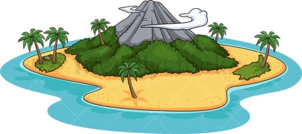 Island with volcano. PNG - JPG and vector EPS (infinitely scalable).