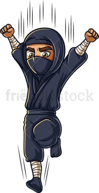 Japanese ninja jumping. PNG - JPG and vector EPS (infinitely scalable).