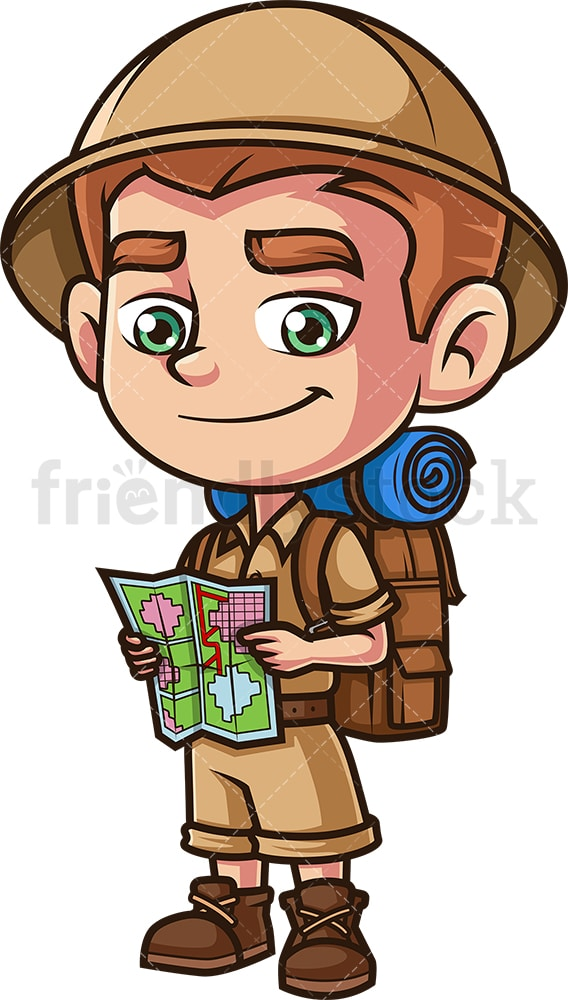 Kid explorer with map. PNG - JPG and vector EPS (infinitely scalable).