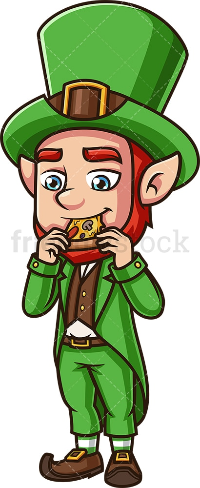 Leprechaun eating pizza. PNG - JPG and vector EPS (infinitely scalable).