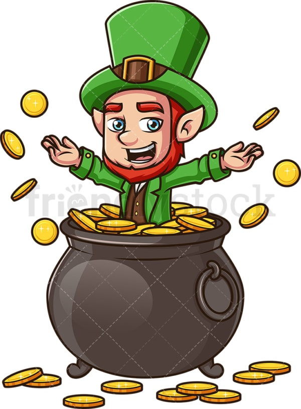 Leprechaun in pot of gold. PNG - JPG and vector EPS (infinitely scalable). Image isolated on transparent background.