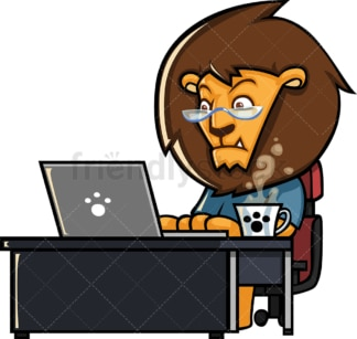 Lion working with laptop. PNG - JPG and vector EPS (infinitely scalable).