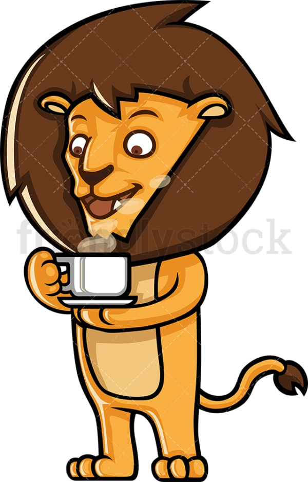 Lion drinking coffee. PNG - JPG and vector EPS (infinitely scalable).