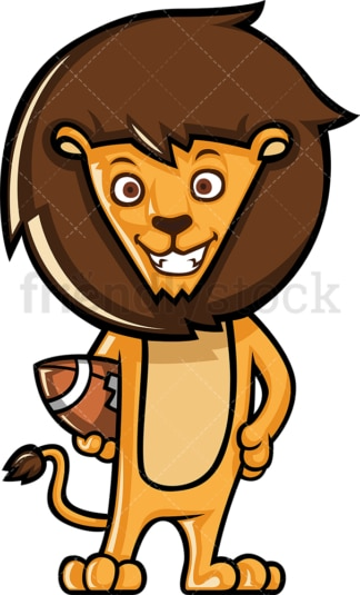Lion holding football. PNG - JPG and vector EPS (infinitely scalable).
