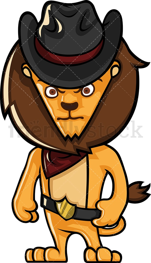 Lion sheriff. PNG - JPG and vector EPS (infinitely scalable).