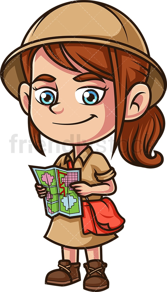 Little girl explorer holding map. PNG - JPG and vector EPS (infinitely scalable).