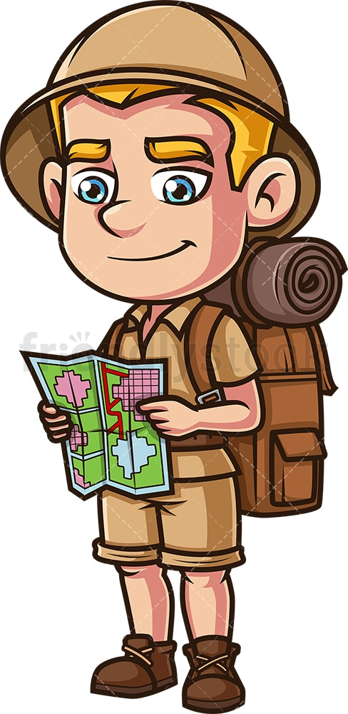Male safari explorer holding map. PNG - JPG and vector EPS (infinitely scalable).