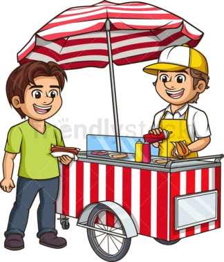 Man selling hot dogs. PNG - JPG and vector EPS (infinitely scalable).