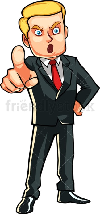 Pissed off businessman pointing. PNG - JPG and vector EPS file formats (infinitely scalable). Image isolated on transparent background.