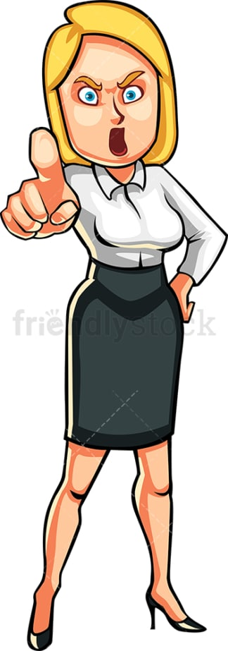 Pissed off businesswoman pointing. PNG - JPG and vector EPS file formats (infinitely scalable). Image isolated on transparent background.