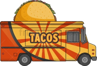 Taco food track side view. PNG - JPG and vector EPS file formats (infinitely scalable). Image isolated on transparent background.