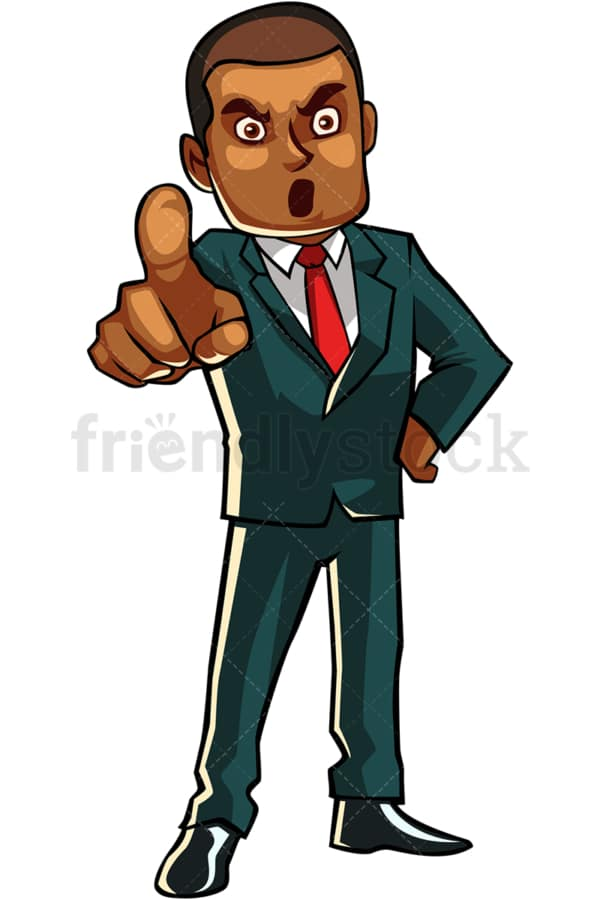 Upset black businessman. PNG - JPG and vector EPS file formats (infinitely scalable). Image isolated on transparent background.