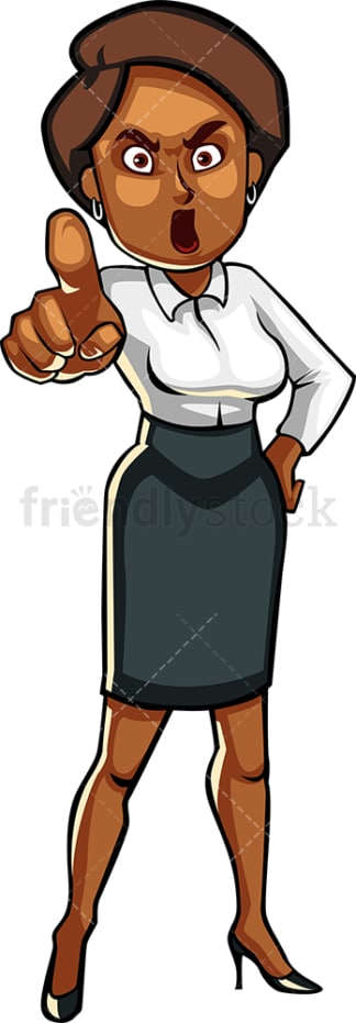 Upset black businesswoman. PNG - JPG and vector EPS file formats (infinitely scalable). Image isolated on transparent background.