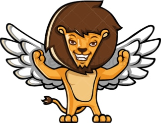 Winged lion flexing its muscles. PNG - JPG and vector EPS (infinitely scalable).
