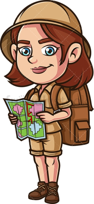 Woman explorer with map. PNG - JPG and vector EPS (infinitely scalable).