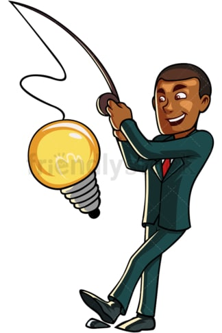 Black businessman fishing a light bulb. PNG - JPG and vector EPS file formats (infinitely scalable). Image isolated on transparent background.