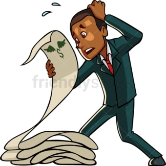 Black man freaking out with business expenses. PNG - JPG and vector EPS file formats (infinitely scalable). Image isolated on transparent background.