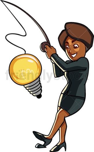 Black woman business idea. PNG - JPG and vector EPS file formats (infinitely scalable). Image isolated on transparent background.