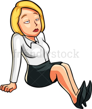 Bored woman seated on the floor. PNG - JPG and vector EPS file formats (infinitely scalable). Image isolated on transparent background.