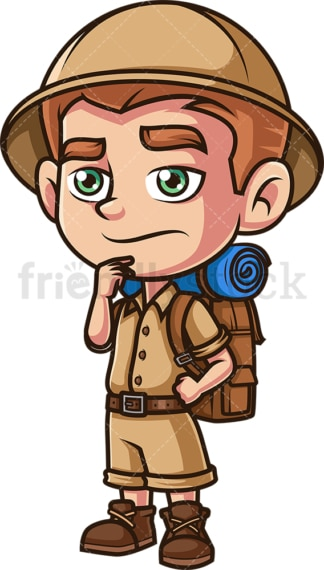 Boy safari explorer thinking. PNG - JPG and vector EPS (infinitely scalable).