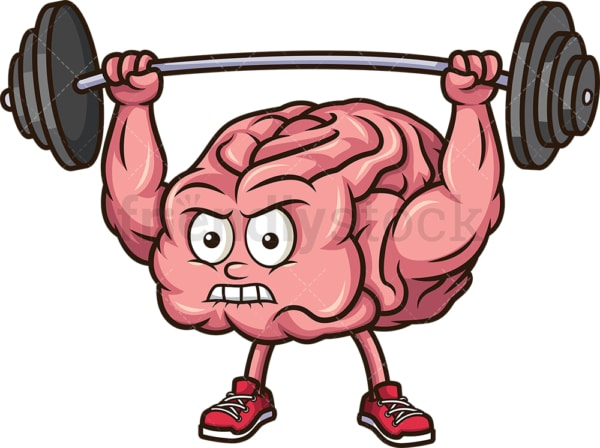 Brain exercising with barbell. PNG - JPG and vector EPS (infinitely scalable).