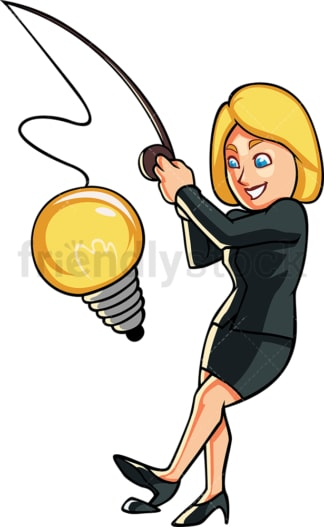 Business woman fishing for ideas. PNG - JPG and vector EPS file formats (infinitely scalable). Image isolated on transparent background.