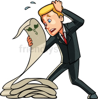 Businessman holding expenses list. PNG - JPG and vector EPS file formats (infinitely scalable). Image isolated on transparent background.