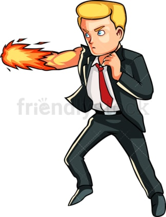 Businessman with fist in flames. PNG - JPG and vector EPS file formats (infinitely scalable). Image isolated on transparent background.
