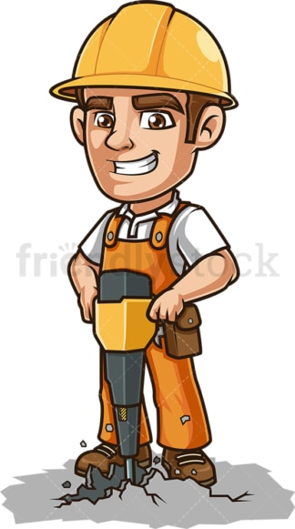 Construction worker with demolition hammer. PNG - JPG and vector EPS (infinitely scalable).