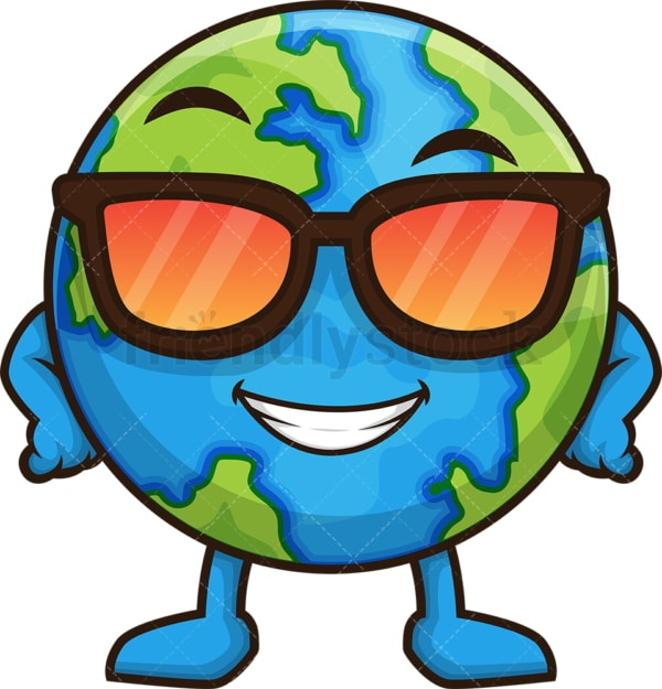 Cool earth with sunglasses. PNG - JPG and vector EPS (infinitely scalable).